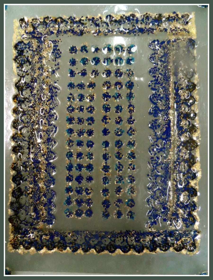 blue lace and gold leaf window framed